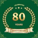 80 años de aniversario, cumpleaños, fondo Ilustración del vector ilustración del vector