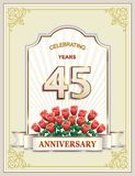 45 años de aniversario, feliz cumpleaños, celebración, tarjeta de felicitación, fondo, días de fiesta ilustración del vector