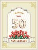 50 años de aniversario, feliz cumpleaños, tarjeta de felicitación, fondo Ilustración del vector ilustración del vector