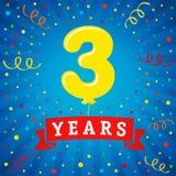 3 años de celebración del aniversario con el globo y el confeti coloreados Foto de archivo libre de regalías