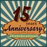 15 años de celebración, tarjeta retra del estilo del aniversario Foto de archivo libre de regalías