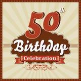 50 años de celebración, 50.a tarjeta retra del feliz cumpleaños Fotos de archivo libres de regalías