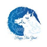 2019 años de cerdo Año de verraco Modelo escarchado de la ronda azul ilustración del vector