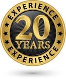 20 años de la experiencia de etiqueta del oro, ejemplo del vector Imágenes de archivo libres de regalías