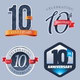 10 años de logotipo del aniversario stock de ilustración