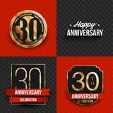 30 años de logotipos del aniversario en fondos rojos y negros Imagenes de archivo