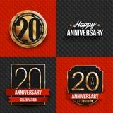 20 años de logotipos del aniversario en fondos rojos y negros Imagen de archivo libre de regalías