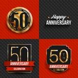 50 años de logotipos del aniversario en fondos rojos y negros Imagenes de archivo