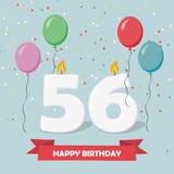 56 años de selebration Tarjeta de felicitación del feliz cumpleaños con las velas, el confeti y los globos Imágenes de archivo libres de regalías