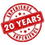 20 años de sello de goma de la experiencia Fotografía de archivo libre de regalías