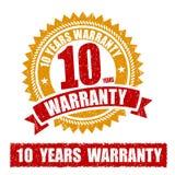10 años de sello de goma de la garantía Fotografía de archivo
