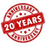 20 años de sello de goma del aniversario Imagenes de archivo