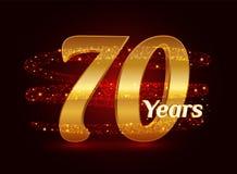 70 años del aniversario 3d de celebración de oro del logotipo con las partículas chispeantes de estrella que brillan del rastro e ilustración del vector