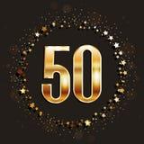 50 años del aniversario de bandera del oro en fondo oscuro Fotografía de archivo