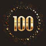 100 años del aniversario de bandera del oro en fondo oscuro Foto de archivo libre de regalías