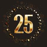25 años del aniversario de bandera del oro en fondo oscuro Imagen de archivo libre de regalías
