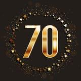 70 años del aniversario de bandera del oro en fondo oscuro Imágenes de archivo libres de regalías