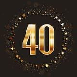 40 años del aniversario de bandera del oro en fondo oscuro Imagen de archivo libre de regalías