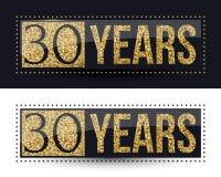 30 años del aniversario de bandera del oro en fondos oscuros y blancos Imagenes de archivo
