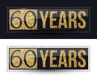 60 años del aniversario de bandera del oro en fondos oscuros y blancos Foto de archivo libre de regalías