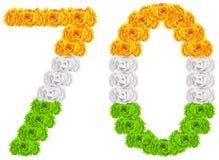 70 años del aniversario de día la India de la república Número 70 de flores tricoloras de la bandera nacional ilustración del vector