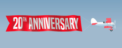 20 años del aniversario de ejemplo del vector, bandera, aviador Foto de archivo libre de regalías