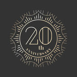 20 años del aniversario de icono del vector, logotipo Imagen de archivo libre de regalías
