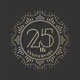 25 años del aniversario de icono del vector, logotipo Imagen de archivo