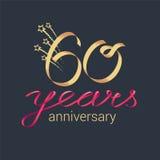 60 años del aniversario de icono del vector, logotipo stock de ilustración