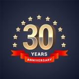 30 años del aniversario de icono del vector, logotipo Fotos de archivo libres de regalías