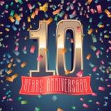10 años del aniversario de icono del vector, logotipo Imagen de archivo