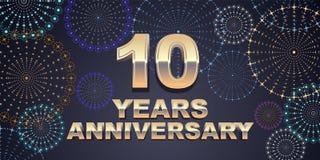 10 años del aniversario de icono del vector, logotipo Fotografía de archivo libre de regalías