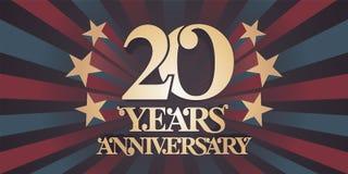 20 años del aniversario de icono del vector, logotipo, bandera Imágenes de archivo libres de regalías