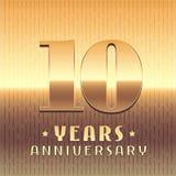 10 años del aniversario de icono del vector, símbolo Imágenes de archivo libres de regalías