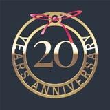 20 años del aniversario de icono del vector, símbolo stock de ilustración