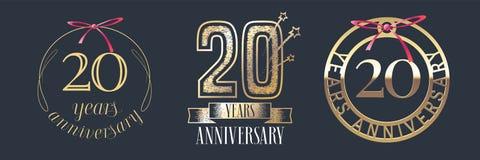 20 años del aniversario de icono del vector, sistema del logotipo stock de ilustración