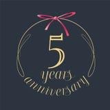 5 años del aniversario de la celebración de icono del vector, logotipo Fotos de archivo libres de regalías
