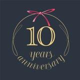 10 años del aniversario de la celebración de icono del vector, logotipo Imagen de archivo