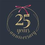 25 años del aniversario de la celebración de icono del vector, logotipo Imagen de archivo