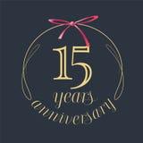 15 años del aniversario de la celebración de icono del vector, logotipo Foto de archivo