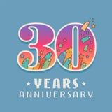 30 años del aniversario de la celebración de icono del vector, logotipo Foto de archivo libre de regalías