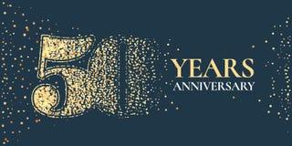 50 años del aniversario de la celebración de icono del vector, logotipo libre illustration