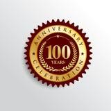 100 años del aniversario de la celebración de logotipo de oro de la insignia ilustración del vector