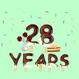 28 años del aniversario de la celebración de tarjeta de cumpleaños Foto de archivo