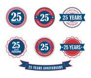 25 años del aniversario de la insignia del emblema de vector del sello Imagenes de archivo