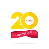 20 años del aniversario de plantilla del logotipo, vigésima etiqueta del icono del aniversario con la cinta Foto de archivo libre de regalías