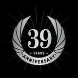 39 años del aniversario de plantilla del diseño Diseño elegante del logotipo del aniversario Treinta y nueve años de logotipo ilustración del vector