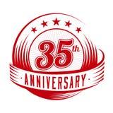 35 años del aniversario de plantilla del diseño 35to aniversario que celebra diseño del logotipo logotipo 35years ilustración del vector