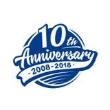 10 años del aniversario de plantilla del diseño Vector y ejemplo 10mo logotipo stock de ilustración