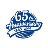 65 años del aniversario de plantilla del diseño Vector y ejemplo 65.o logotipo libre illustration